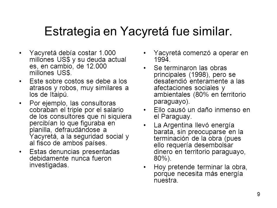 Estrategia en Yacyretá fue similar.