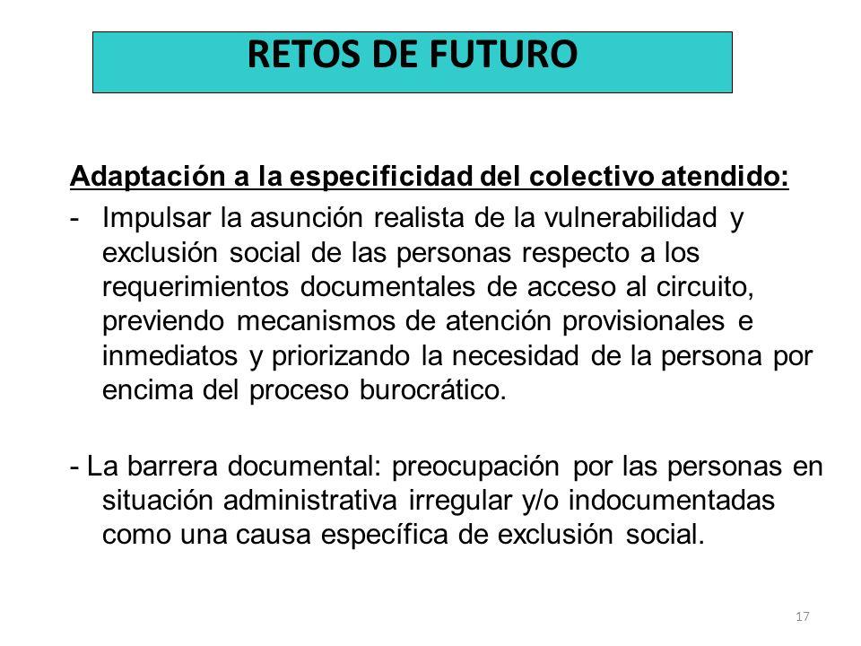 RETOS DE FUTURO Adaptación a la especificidad del colectivo atendido: