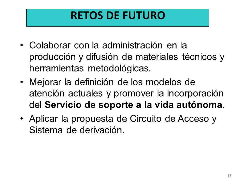 RETOS DE FUTURO Colaborar con la administración en la producción y difusión de materiales técnicos y herramientas metodológicas.
