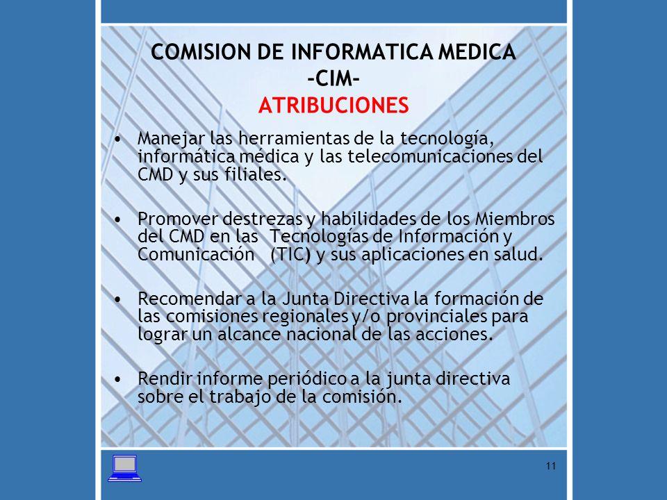 COMISION DE INFORMATICA MEDICA -CIM- ATRIBUCIONES