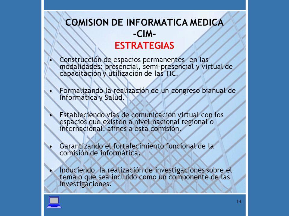 COMISION DE INFORMATICA MEDICA -CIM- ESTRATEGIAS