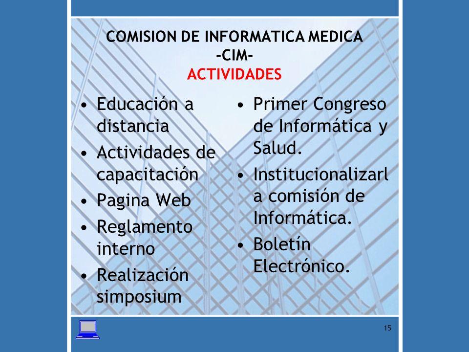 COMISION DE INFORMATICA MEDICA -CIM- ACTIVIDADES