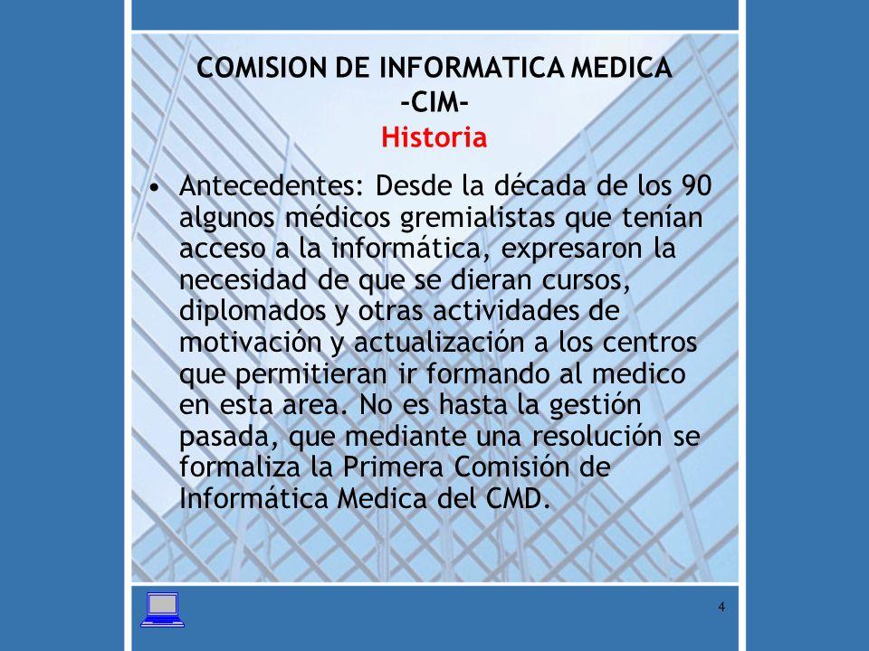 COMISION DE INFORMATICA MEDICA -CIM- Historia