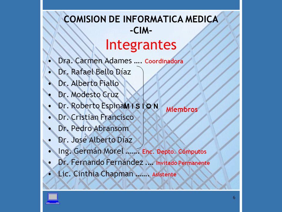 COMISION DE INFORMATICA MEDICA -CIM- Integrantes