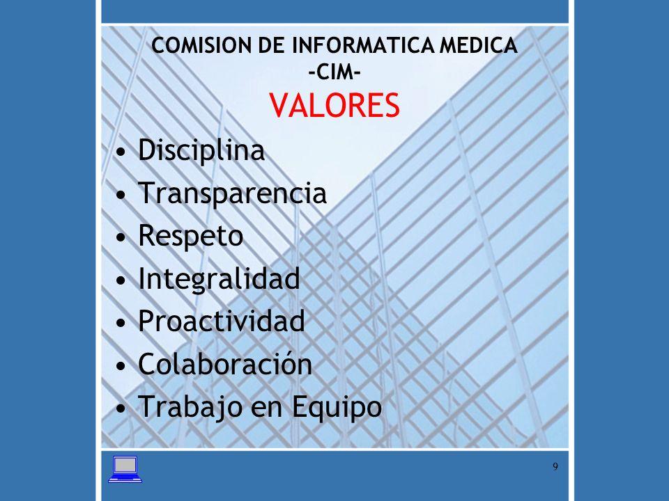 COMISION DE INFORMATICA MEDICA -CIM- VALORES