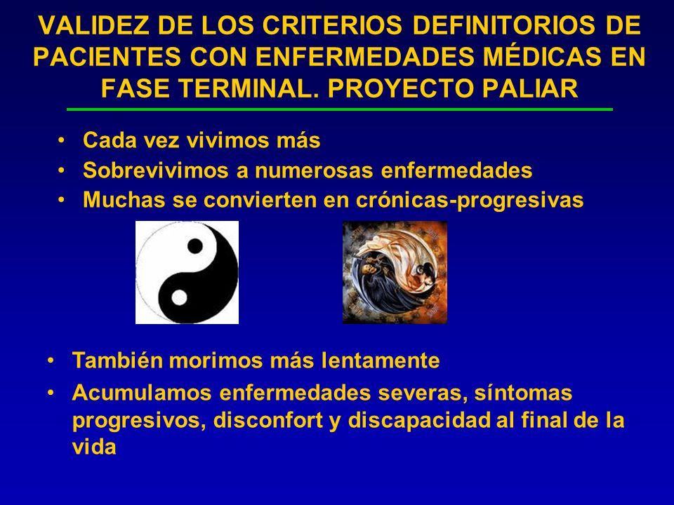 VALIDEZ DE LOS CRITERIOS DEFINITORIOS DE PACIENTES CON ENFERMEDADES MÉDICAS EN FASE TERMINAL. PROYECTO PALIAR