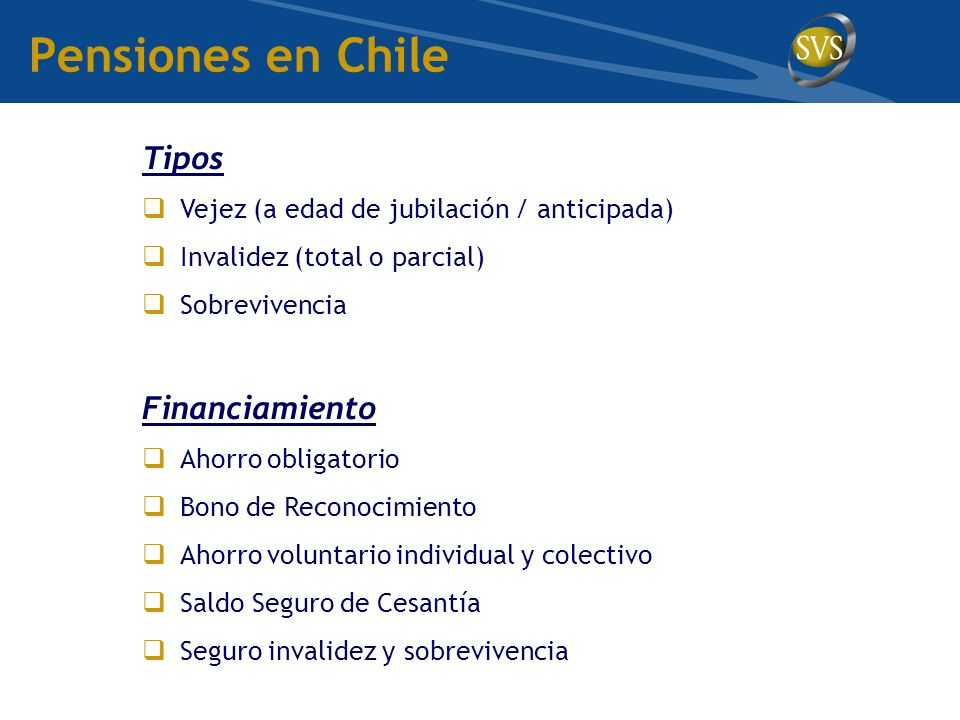 Pensiones en Chile Tipos Financiamiento