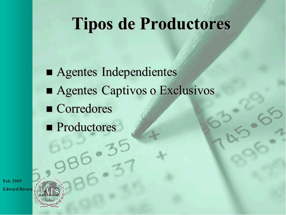 Tipos de Productores Agentes Independientes