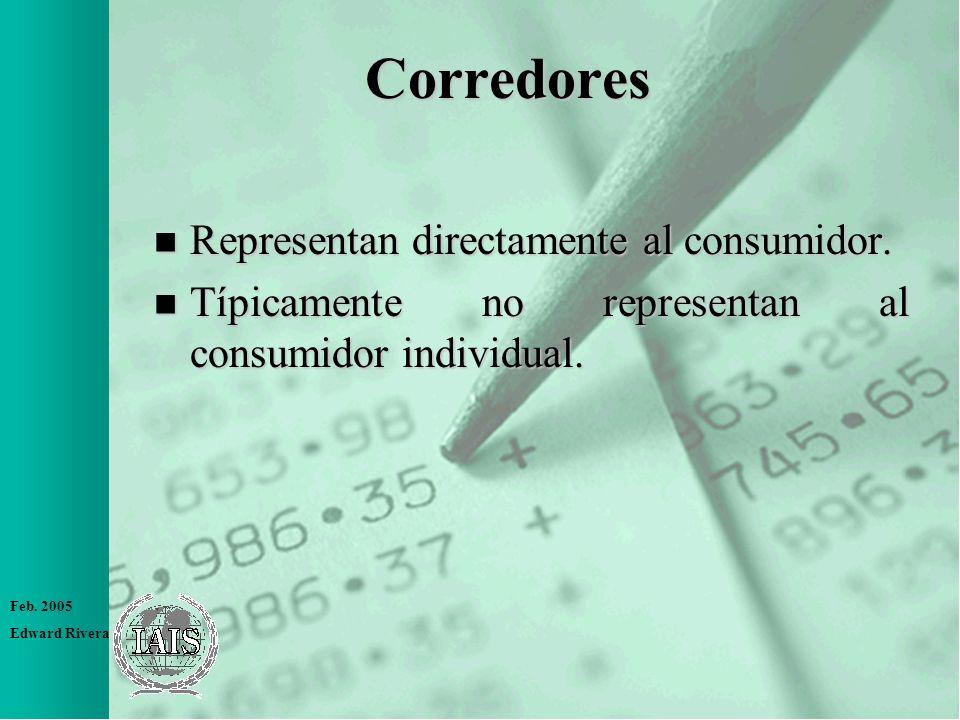 Corredores Representan directamente al consumidor.