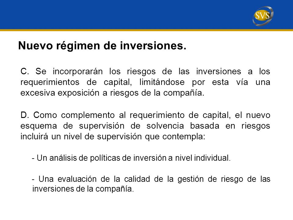 Nuevo régimen de inversiones.