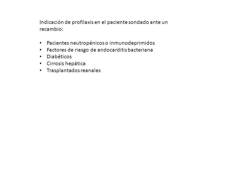 Indicación de profilaxis en el paciente sondado ante un recambio: