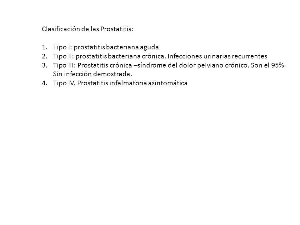 Clasificación de las Prostatitis: