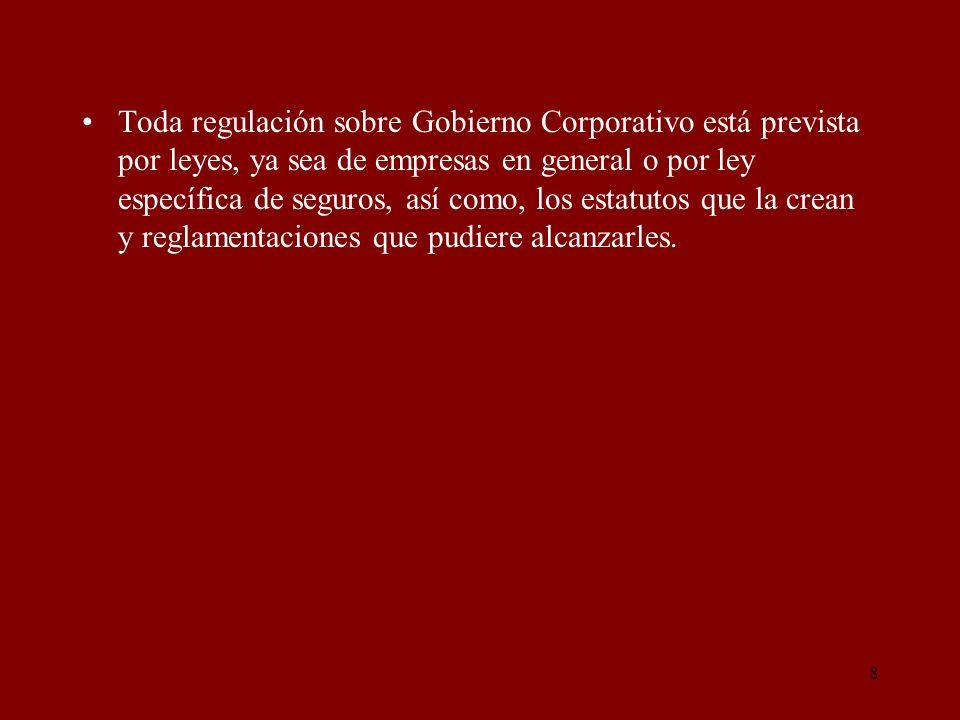 Toda regulación sobre Gobierno Corporativo está prevista por leyes, ya sea de empresas en general o por ley específica de seguros, así como, los estatutos que la crean y reglamentaciones que pudiere alcanzarles.
