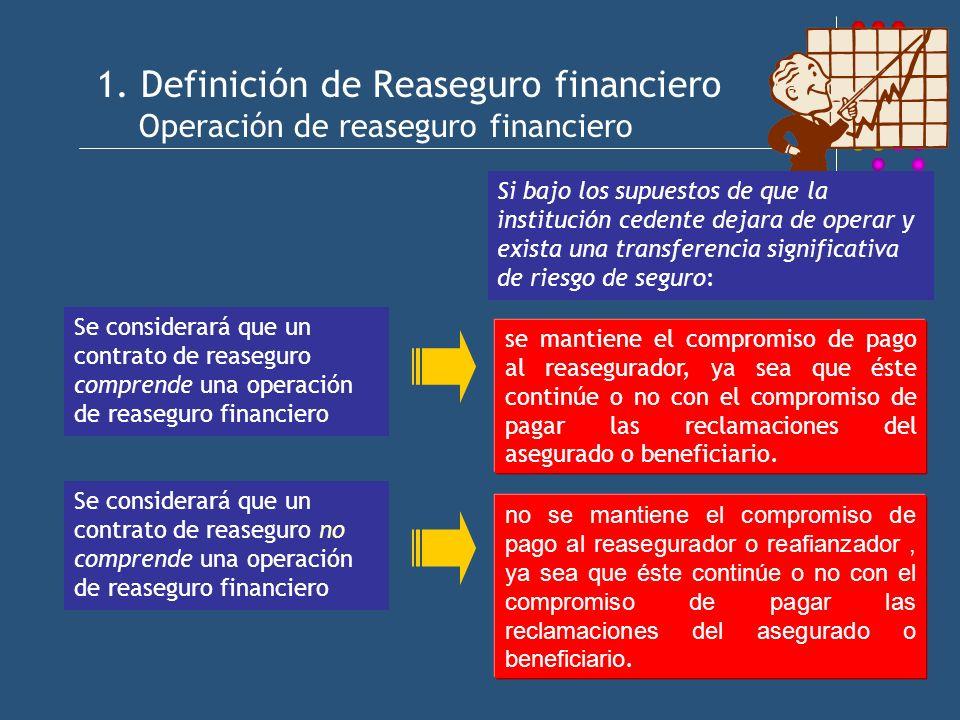 1. Definición de Reaseguro financiero Operación de reaseguro financiero