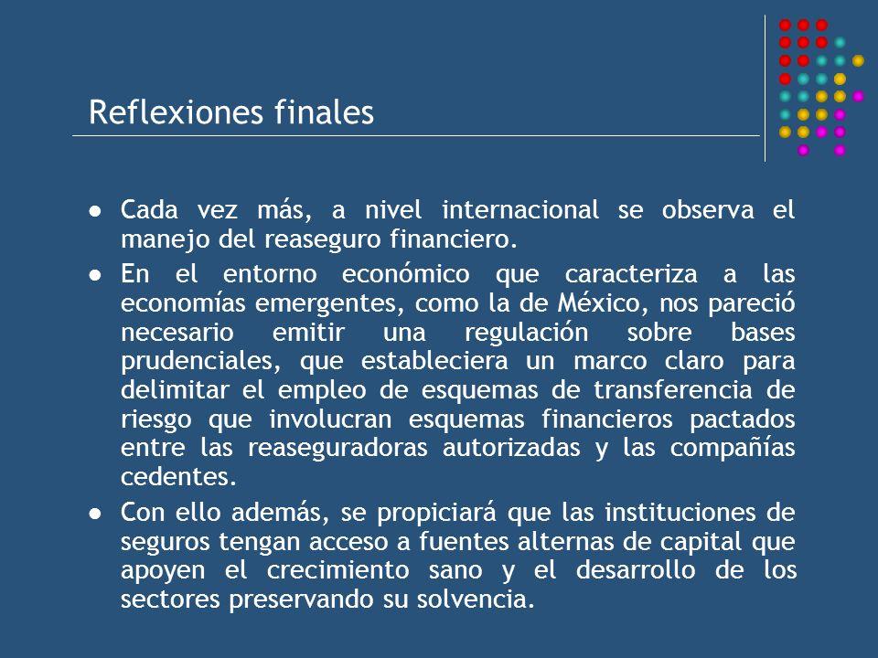Reflexiones finales Cada vez más, a nivel internacional se observa el manejo del reaseguro financiero.