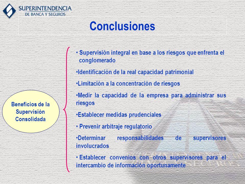 Conclusiones Supervisión integral en base a los riesgos que enfrenta el. conglomerado. Identificación de la real capacidad patrimonial.
