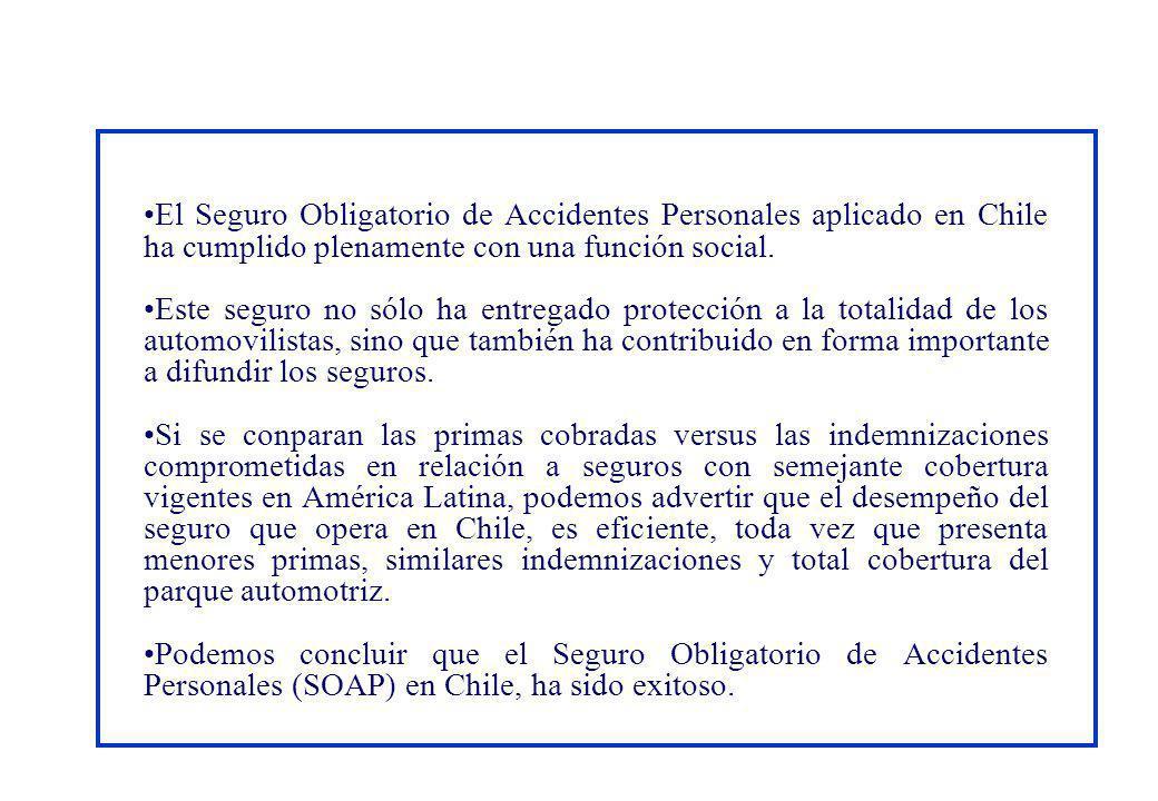 El Seguro Obligatorio de Accidentes Personales aplicado en Chile ha cumplido plenamente con una función social.