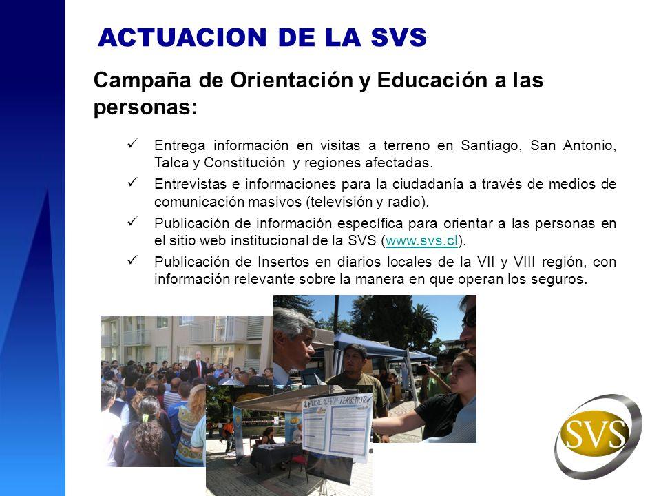 ACTUACION DE LA SVS Campaña de Orientación y Educación a las personas: