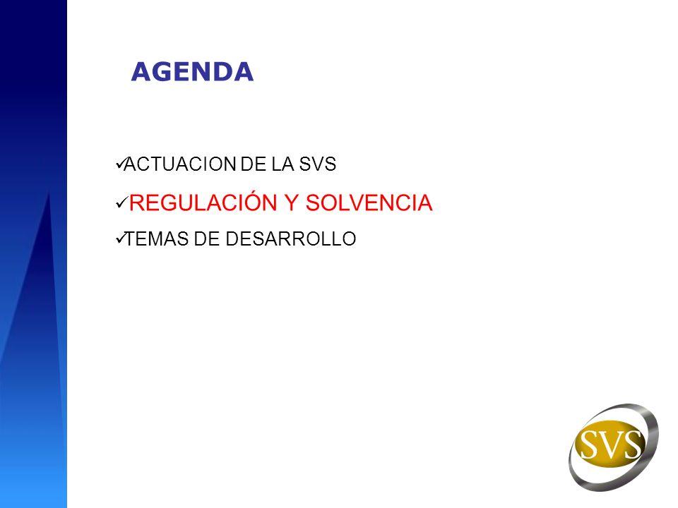 AGENDA ACTUACION DE LA SVS REGULACIÓN Y SOLVENCIA TEMAS DE DESARROLLO