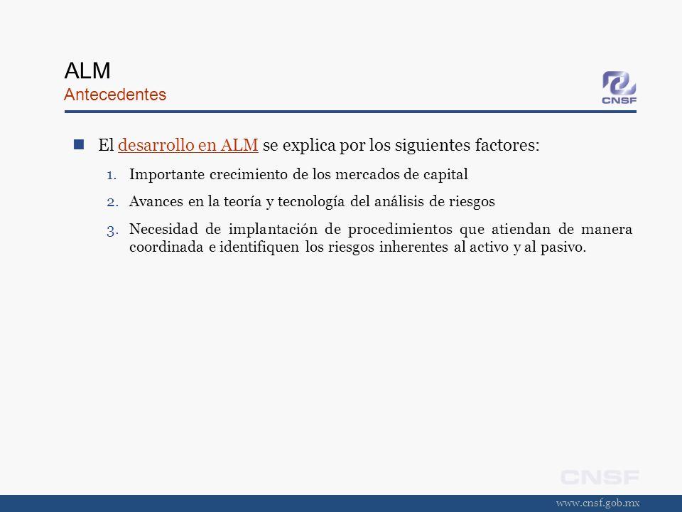 ALM Antecedentes El desarrollo en ALM se explica por los siguientes factores: Importante crecimiento de los mercados de capital.
