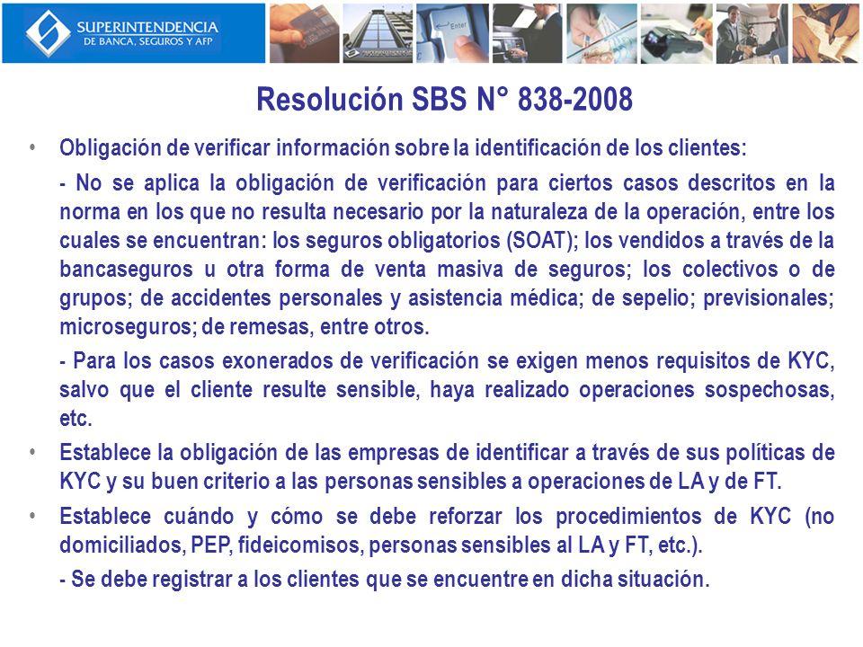 Resolución SBS N° 838-2008Obligación de verificar información sobre la identificación de los clientes: