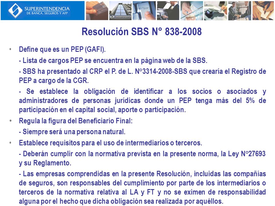 Resolución SBS N° 838-2008 Define que es un PEP (GAFI).