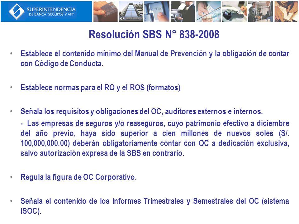 Resolución SBS N° 838-2008Establece el contenido mínimo del Manual de Prevención y la obligación de contar con Código de Conducta.