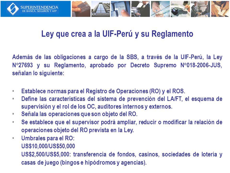 Ley que crea a la UIF-Perú y su Reglamento