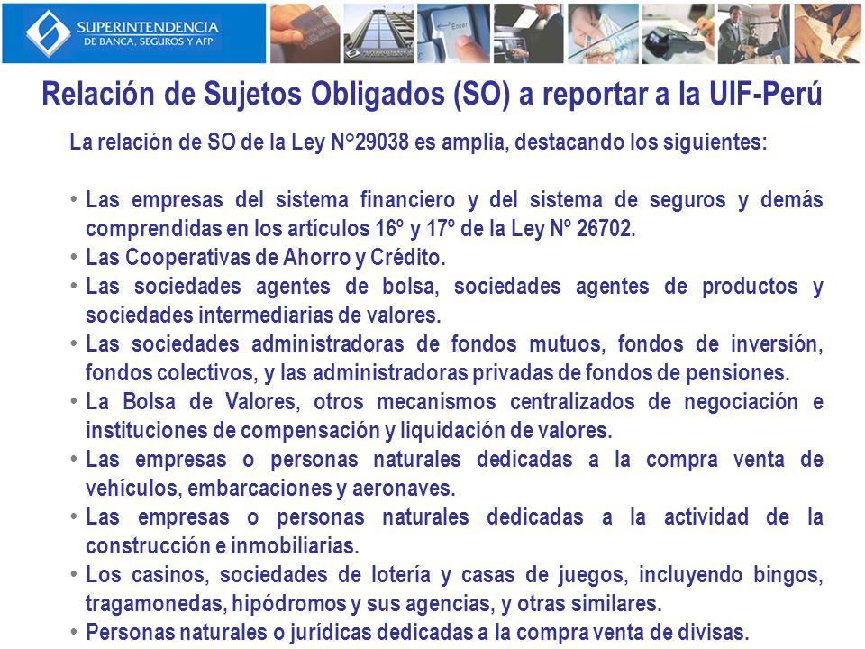 Relación de Sujetos Obligados (SO) a reportar a la UIF-Perú