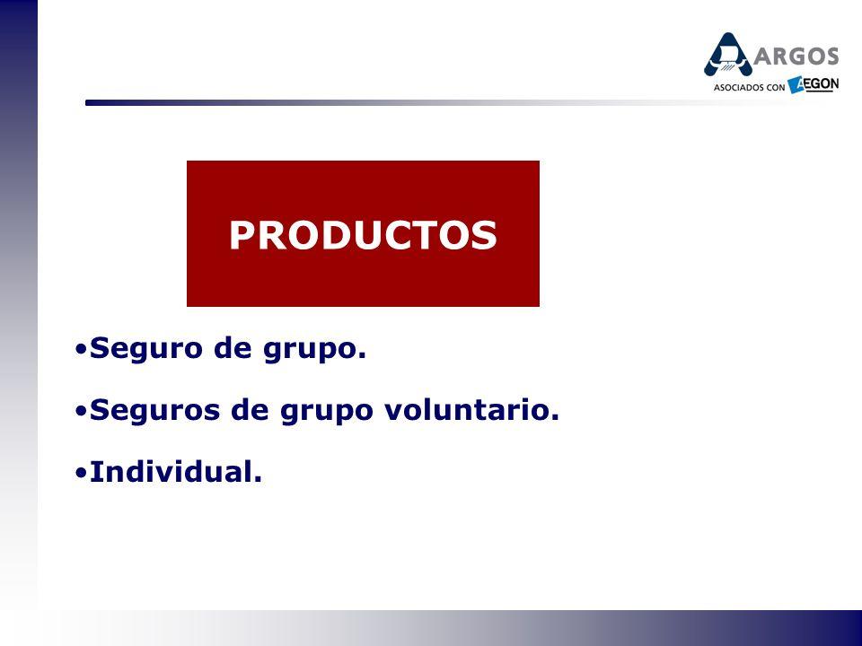 PRODUCTOS Seguro de grupo. Seguros de grupo voluntario. Individual.