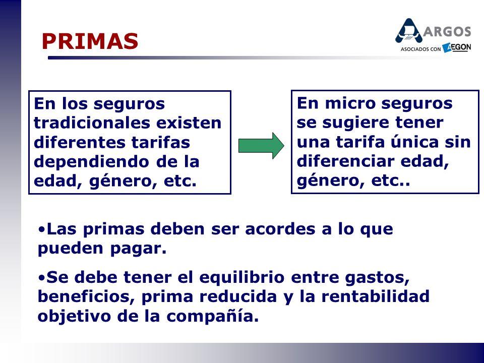 PRIMAS En los seguros tradicionales existen diferentes tarifas dependiendo de la edad, género, etc.