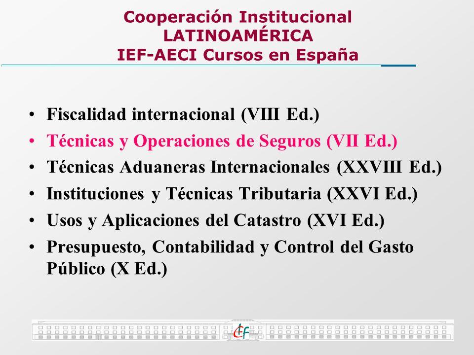 Cooperación Institucional LATINOAMÉRICA IEF-AECI Cursos en España