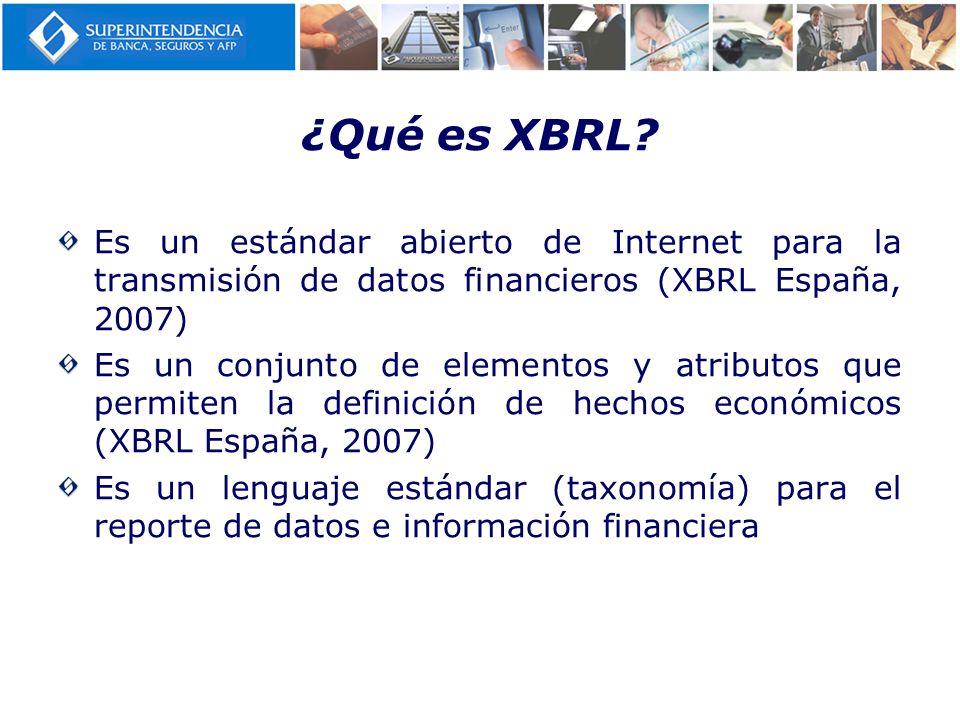 ¿Qué es XBRL Es un estándar abierto de Internet para la transmisión de datos financieros (XBRL España, 2007)