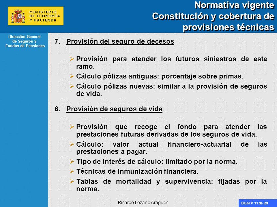 Normativa vigente Constitución y cobertura de provisiones técnicas