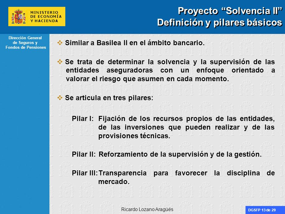 Proyecto Solvencia II Definición y pilares básicos
