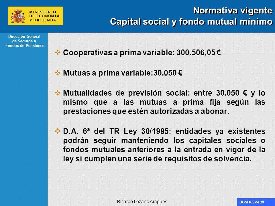 Normativa vigente Capital social y fondo mutual mínimo