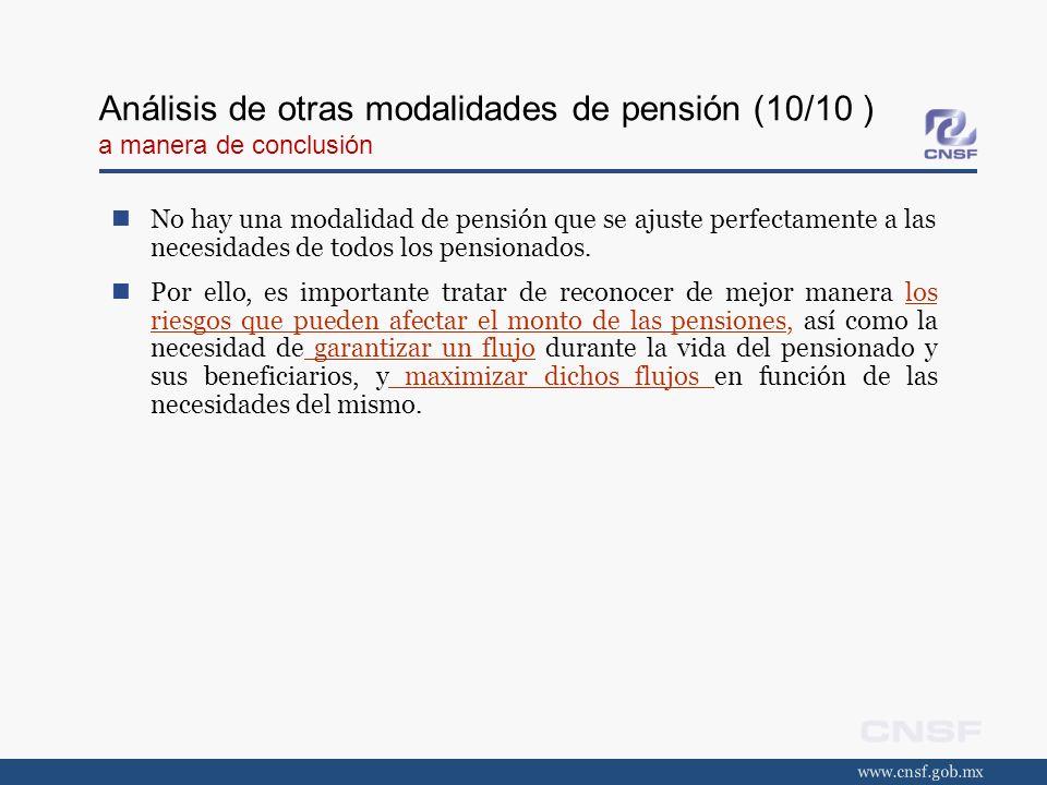 Análisis de otras modalidades de pensión (10/10 ) a manera de conclusión
