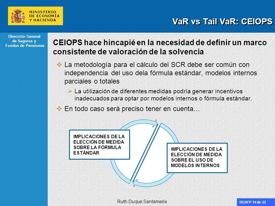 VaR vs Tail VaR: CEIOPS CEIOPS hace hincapié en la necesidad de definir un marco consistente de valoración de la solvencia.
