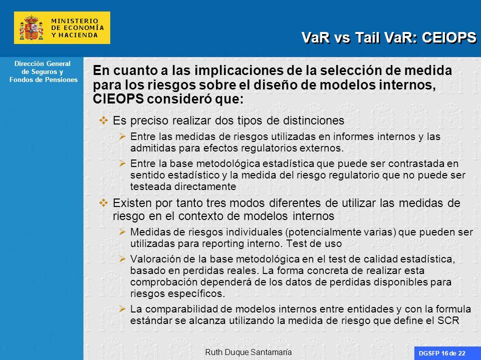 VaR vs Tail VaR: CEIOPS