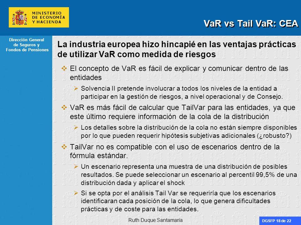 VaR vs Tail VaR: CEA La industria europea hizo hincapié en las ventajas prácticas de utilizar VaR como medida de riesgos.