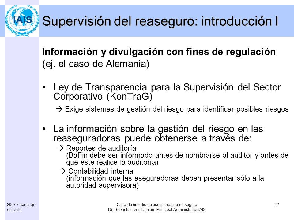Supervisión del reaseguro: introducción I
