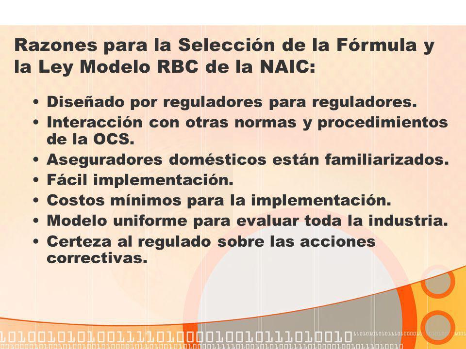 Razones para la Selección de la Fórmula y la Ley Modelo RBC de la NAIC: