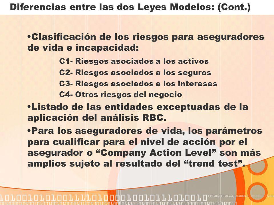 Diferencias entre las dos Leyes Modelos: (Cont.)