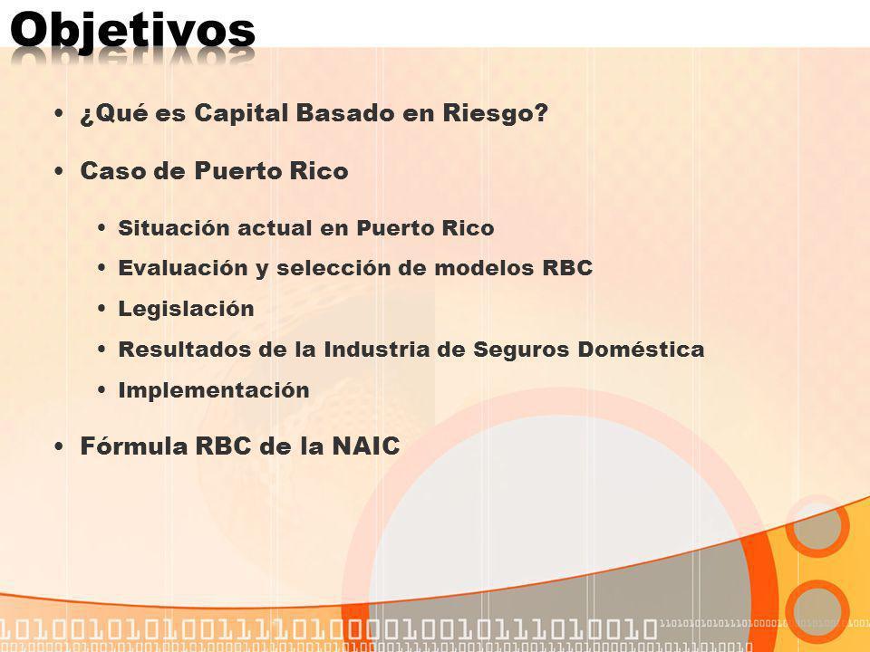 Objetivos ¿Qué es Capital Basado en Riesgo Caso de Puerto Rico