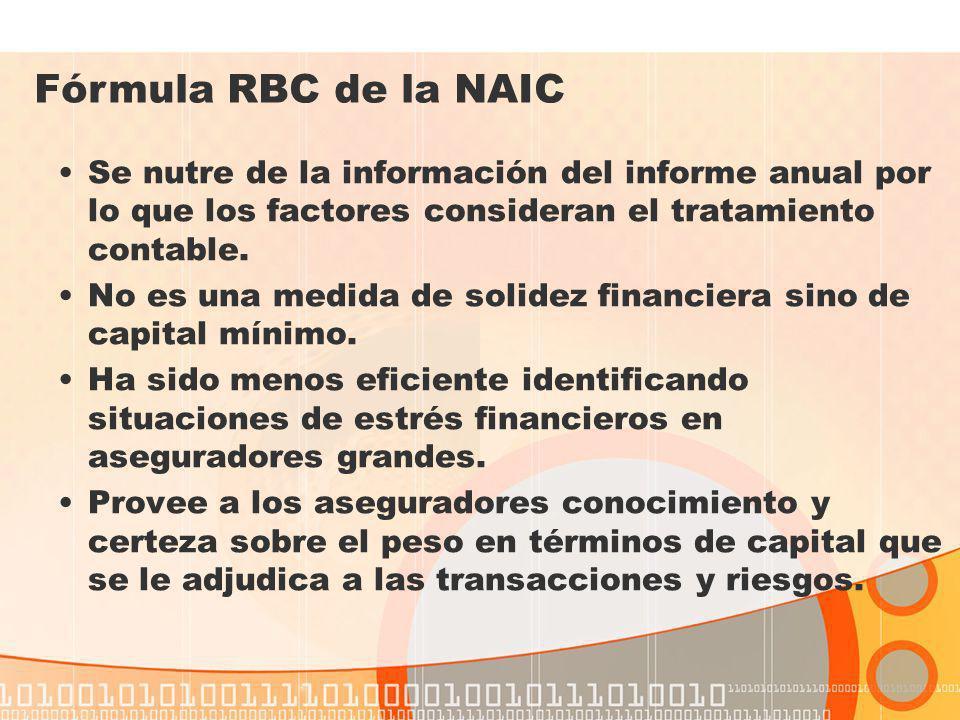 Fórmula RBC de la NAIC Se nutre de la información del informe anual por lo que los factores consideran el tratamiento contable.