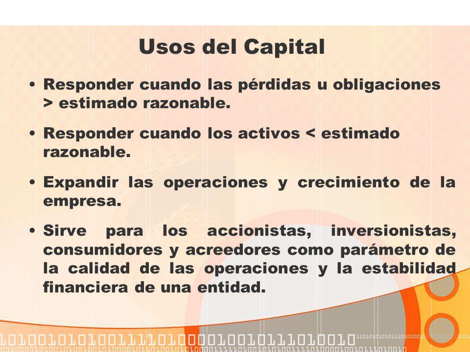 Usos del Capital Responder cuando las pérdidas u obligaciones > estimado razonable. Responder cuando los activos < estimado razonable.