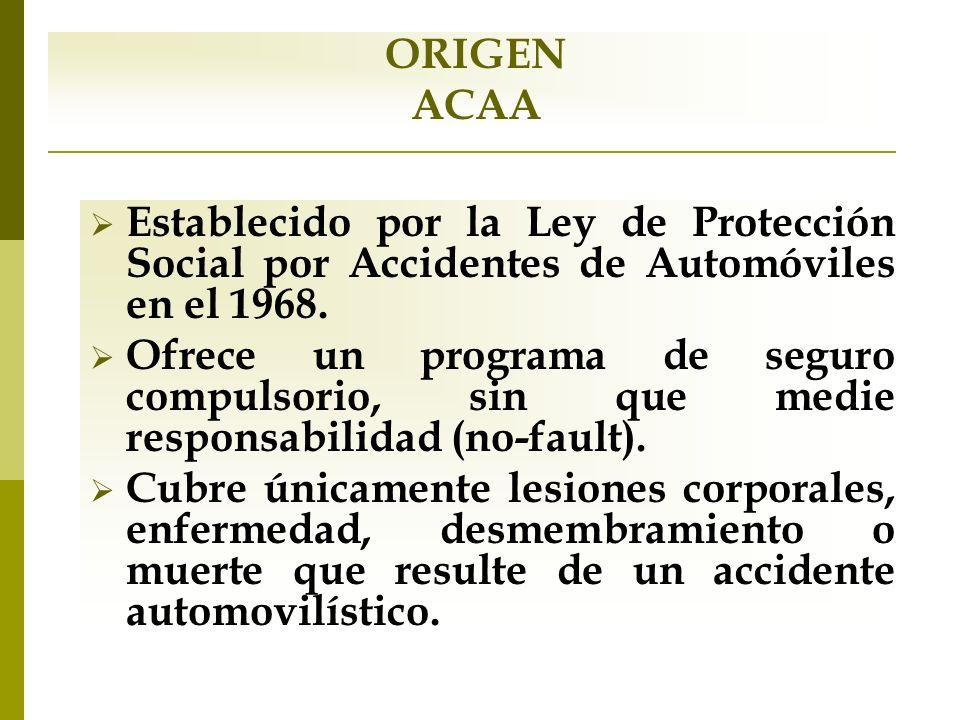 ORIGEN ACAA. Establecido por la Ley de Protección Social por Accidentes de Automóviles en el 1968.
