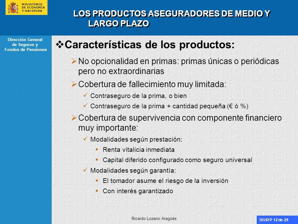LOS PRODUCTOS ASEGURADORES DE MEDIO Y LARGO PLAZO