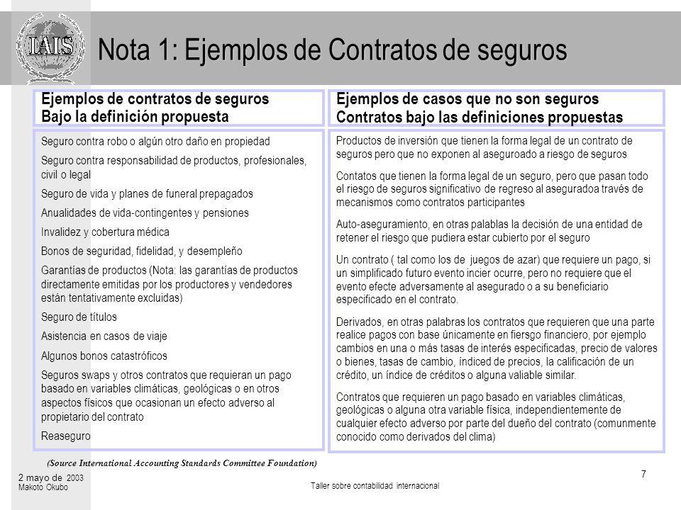 Nota 1: Ejemplos de Contratos de seguros