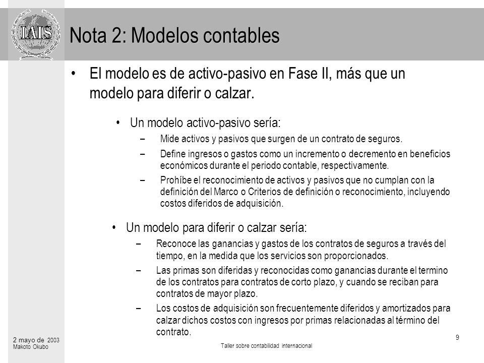 Nota 2: Modelos contables